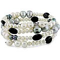 Multi-color Pearl and Onyx Bead Coil Bracelet (4-9 mm)