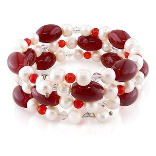 M by Miadora FW Pearl, Carnelian and Crystal Bead Coil Bracelet (7-7.5 mm)