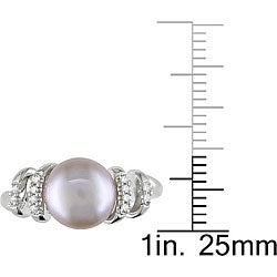 Miadora Sterling Silver Pink Pearl and Diamond Accent Ring (9-9.5 mm)