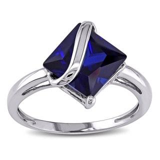Miadora 10k White Gold Created Sapphire Ring