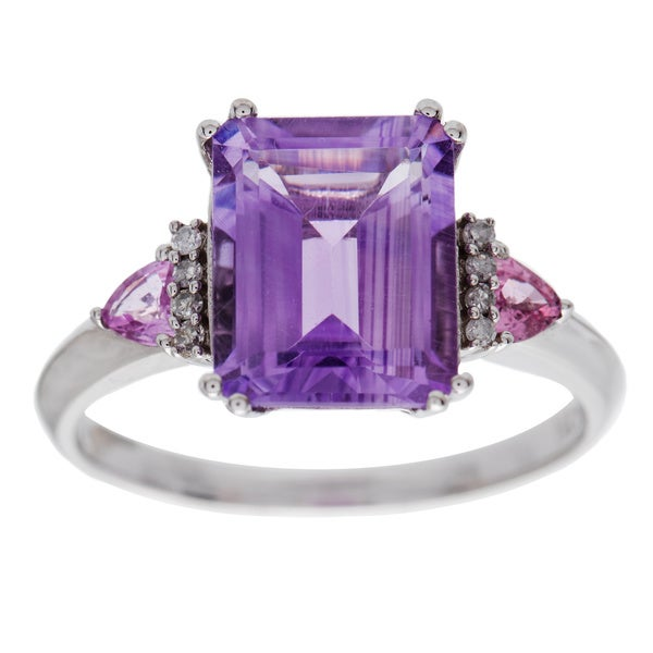 Miadora 10k Gold Amethyst, Pink Sapphire and Diamond Ring