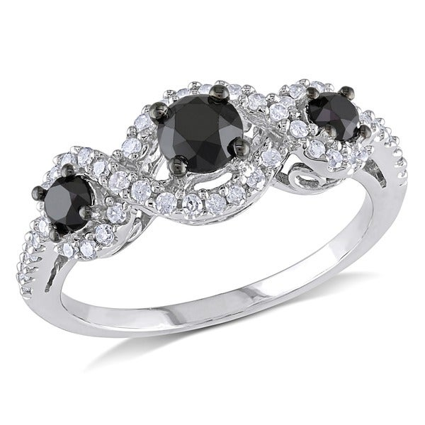 Miadora 1 CT Black and White Diamond TW 3 Stone Ring 10k White Gold GH I2;I3 Black Rhodium Plated