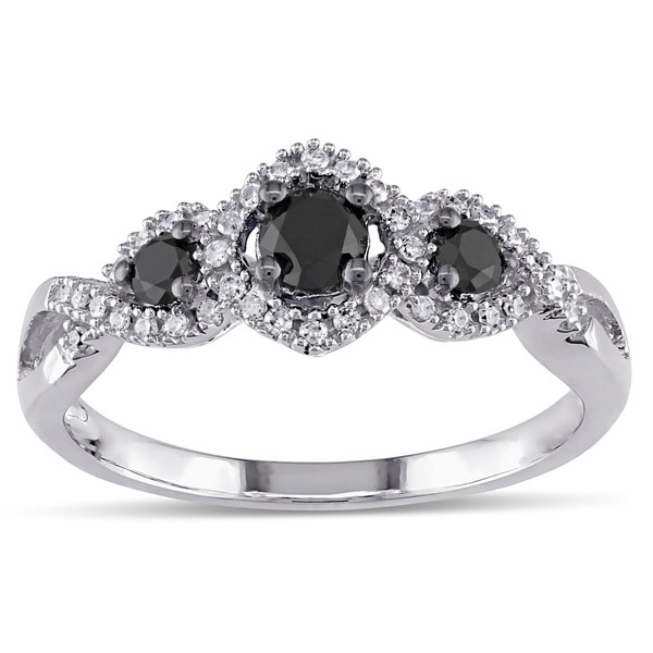 Miadora 1/2 CT Black and White Diamond TW 3 Stone Ring 10k White Gold GH I2;I3 Black Rhodium Plated