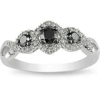 Miadora 10k Gold 1/2ct TDW Black and White Diamond Ring (H-I, I2-I3) with Bonus Earrings