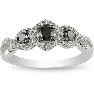 Miadora 10k Gold 1/2ct TDW Black and White Diamond Ring (H-I, I2-I3)