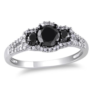 Miadora 10k Gold 1ct TDW Black and White Diamond Halo Ring (H-I, I2-I3)