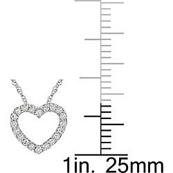 M by Miadora 10k White Gold 1/10ct TDW Diamond Heart Necklace (H-I, I2-I3)