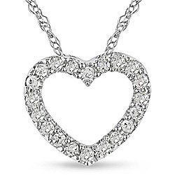 Miadora 10k White Gold 1/10ct TDW Diamond Heart Necklace (H-I, I2-I3)