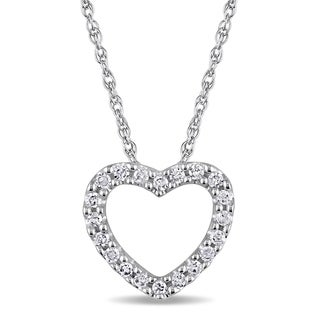 Haylee Jewels 10k White Gold 1/10ct TDW Diamond Heart Necklace (H-I, I2-I3)