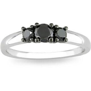 M by Miadora Sterling Silver 1/2ct TDW Three-Stone Black Diamond Ring with Bonus Earrings