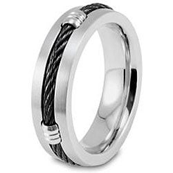 West Coast Jewelry Stainless Steel Black Cable and Barrel Ring
