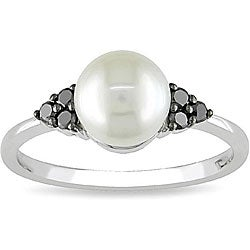 Miadora 10k Gold Pearl and 1/8ct TDW Black Diamond Ring
