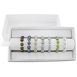 Miadora Silver and Elastic Multi-colored Pearl Rings (Set of 7) (4-5 mm)