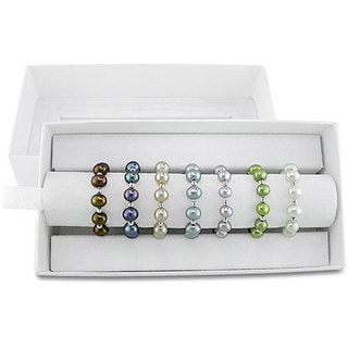 Haylee Jewels Silver and Elastic Multi-colored Cultured Freshwater Pearl Rings (Set of 7) (4-5 mm)