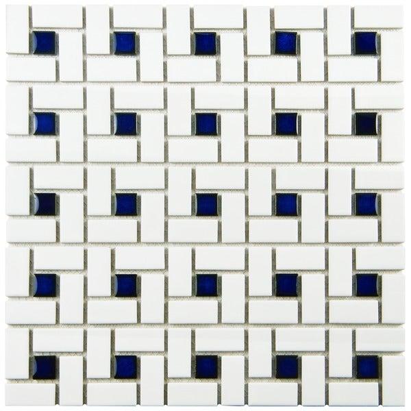 SomerTile 12.5x12.5-in Spiral 1x2-in White/Cobalt Porcelain Mosaic Tile (Pack of 10)