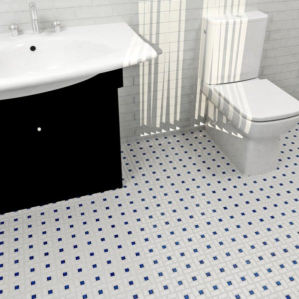 SomerTile 12.5x12.5-in Spiral 1x2-in White/Cobalt Porcelain Mosaic Tile (Pack of 10)
