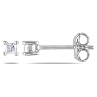 Miadora Sterling Silver 1/6ct TDW Diamond Solitaire Stud Earrings (I-J, I2-I3)
