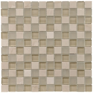 SomerTile 12x12-in Reflections Square 1-in Sandstone Glass/Stone Mosaic Tile (Pack of 10)