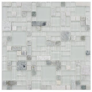 SomerTile 12x12-in Reflections Versailles Ming Glass/Stone Mosaic Tile (Pack of 10)