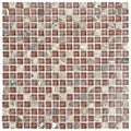 SomerTile 12x12-in Reflections Mini 5/8-in Bordeaux Glass/Stone Mosaic Tile (Pack of 10)
