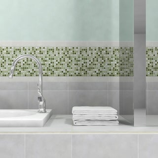 SomerTile 12x12-in Reflections Mini 5/8-in Emerald Isle Glass/Stone Mosaic Tile (Pack of 10)