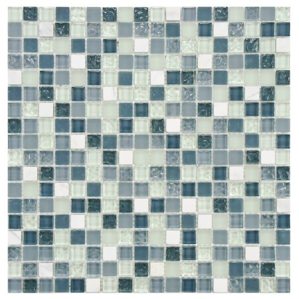 SomerTile 12x12-in Reflections Mini 5/8-in Alaskan View Glass/Stone Mosaic Tile (Pack of 10)