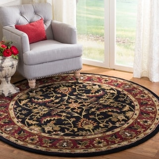Handmade Heritage Heirloom Black/ Red Wool Rug (3'6 Round)