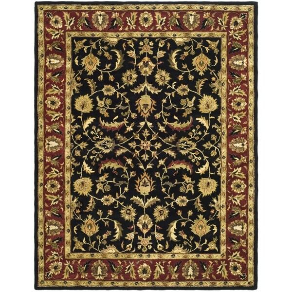 Safavieh Handmade Heritage Heirloom Black/ Red Wool Rug (6' x 9')