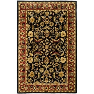 Handmade Heritage Heirloom Black/ Red Wool Rug (6' x 9')