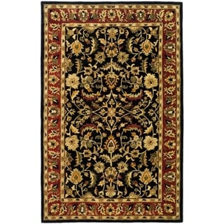 Handmade Heritage Heirloom Black/ Red Wool Rug (9'6 x 13'6)