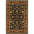 Handmade Heritage Heirloom Black/ Red Wool Rug (4' x 6')