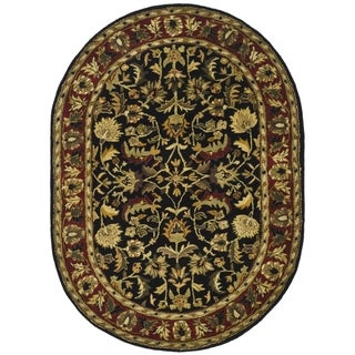 Safavieh Handmade Heritage Heirloom Black/ Red Wool Rug (4'6 x 6'6 Oval)