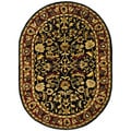 Handmade Heritage Heirloom Black/ Red Wool Rug (4'6 x 6'6 Oval)