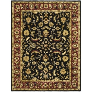 Safavieh Handmade Heritage Heirloom Black/Red Oriental Wool Rug (7'6