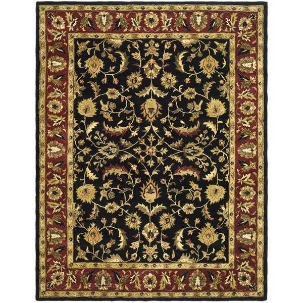 "Safavieh Handmade Heritage Heirloom Black/Red Oriental Wool Rug (7'6"" x 9'6"")"