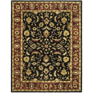 Handmade Heritage Heirloom Black/Red Oriental Wool Rug (7'6