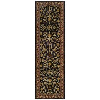 Handmade Heritage Heirloom Black/ Red Wool Runner (2'3 x 12')