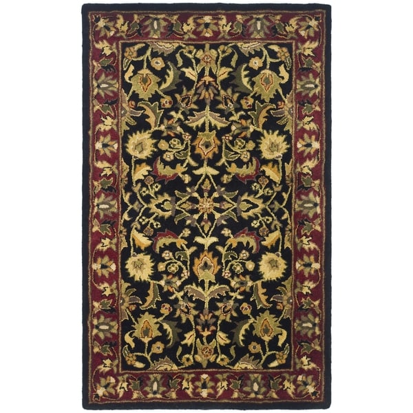 Safavieh Handmade Heritage Heirloom Black/ Red Wool Rug (3' x 5')