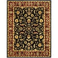 Handmade Heritage Heirloom Black/ Red Wool Rug (5' x 8')