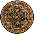 Handmade Heritage Heirloom Black/ Red Wool Rug (8' Round)