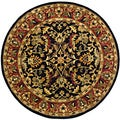 Safavieh Handmade Heritage Heirloom Black/ Red Wool Rug (8' Round)