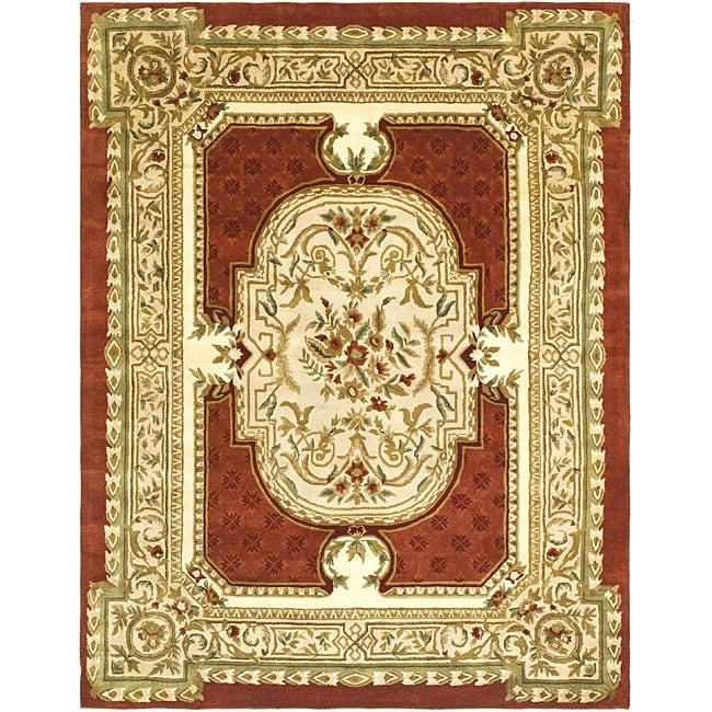 Safavieh Handmade Classic Burgundy/ Beige Wool Rug (5' X 8