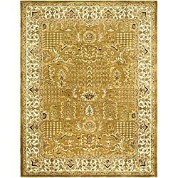 Handmade Classic Gold/ Ivory Wool Rug (5' x 8')