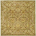 Handmade Mahal Light Brown/ Beige N.Z. Wool Rug (6' Square)