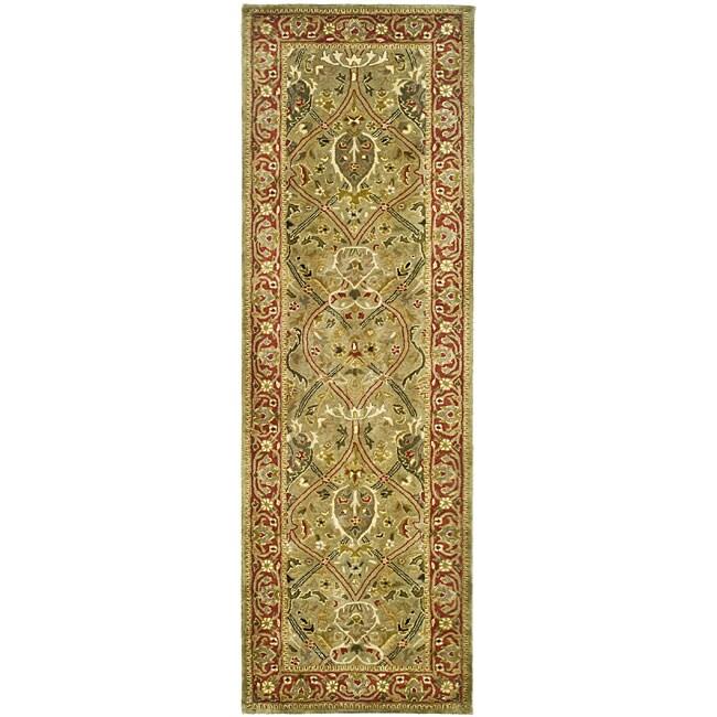 Safavieh Handmade Mahal Green/ Rust New Zealand Wool Runner (2'6 x 12')