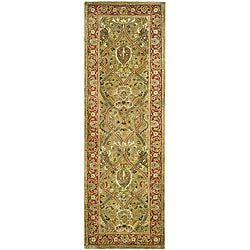 Safavieh Handmade Mahal Green/ Rust New Zealand Wool Runner (2'6 x 8')