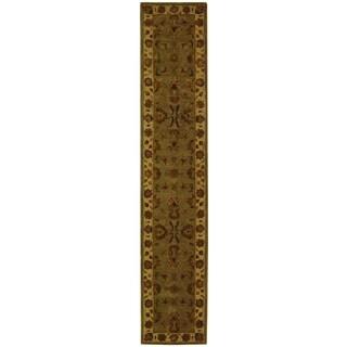 Safavieh Handmade Heritage Kerman Green/ Gold Wool Runner (2'3 x 16')