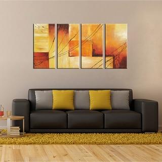 'Sunset' Hand-painted Oil on Canvas 4-piece Art Set