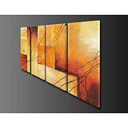 'Sunset' Hand-painted Oil on Canvas 4-piece Art Set
