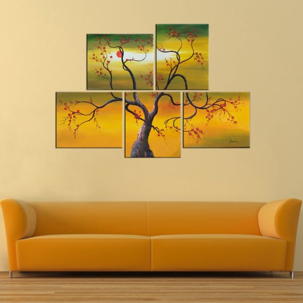 'Tree' Hand-painted 5-piece Canvas Set